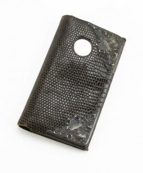 Antique Snake Skin And Sterling Silver Watch Wallet. We