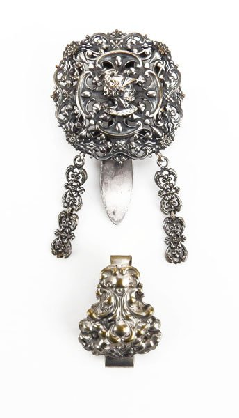 Two (2) Art Nouveau Silver Plated Chatelaines. Some Ben