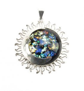 Sterling Silver And Semi Precious Stone Half Moon Penda