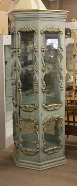 Vintage Ornate Italian Curio Cabinet With Glass Shelves