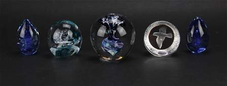 Five (5) Colorful Art Glass Paperweights. Includes Mats