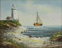 Brian Roche Oil on Board Painting of a Seaside Scape Si