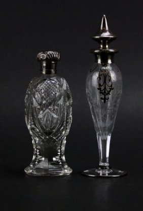 Antique Cut Crystal And Sterling Silver Perfume Bottle