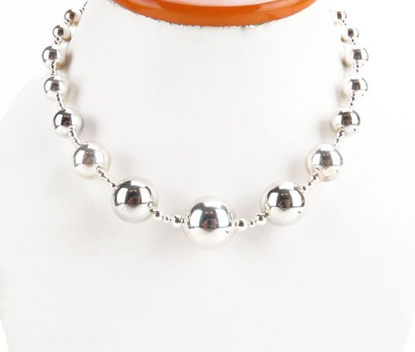 Sterling Silver Graduated Beaded Necklace. Stamped 925.