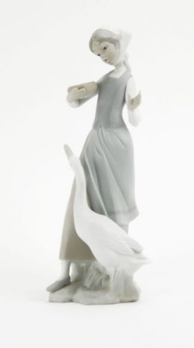 Lladro Matte Finish Girl With Goose Figurine. Stamped