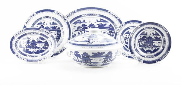 Twenty-One (21) Pc Chinese Blue and White Partial
