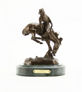 Fredric Remington Outlaw Bronze Sculpture On Green