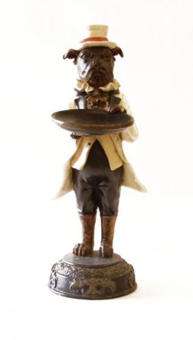 Vintage Composition Statue Of A Dog Waiter. Good