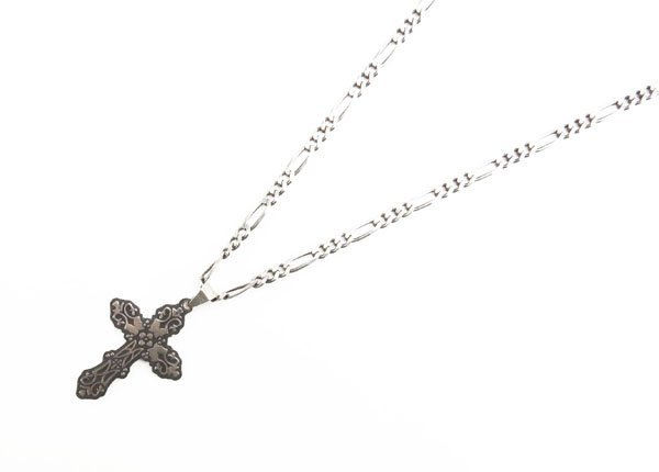 Mexican Sterling Silver Cross Pendant on Sterling Chain