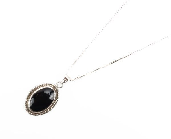 Mexican Sterling Silver and Onyx Pendant on Sterling Ch