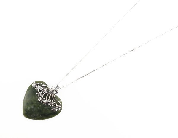 Sterling Silver and Hardstone Heart Shaped Pendant on S