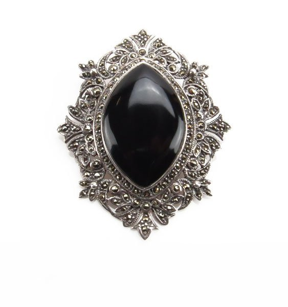 Sterling Silver Marcasite and Onyx Pin/Pendant. Unsigne