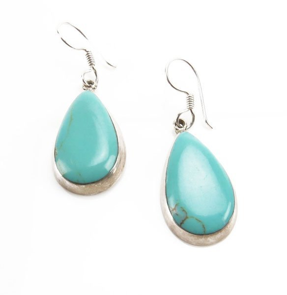 Ladies Sterling Silver and Turquoise Earrings. Stamped