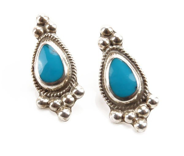 Taxco Sterling Silver and Turquoise Earrings. Stamped M