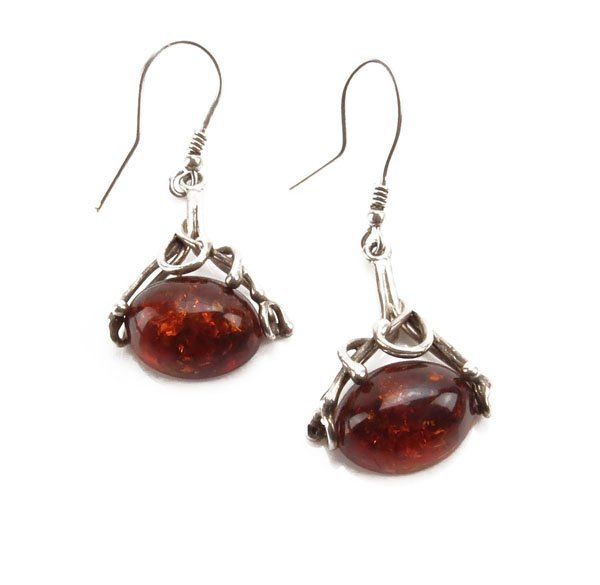 Ladies Sterling Silver and Baltic Amber Earrings. Unsig