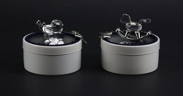 Two (2) Silver and Swarovski Crystal Doca Creazoni