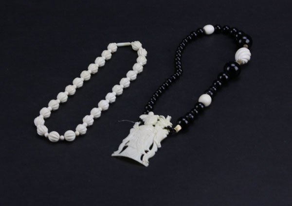 Chinese Ivory Beaded Necklace along with Chinese Ivory