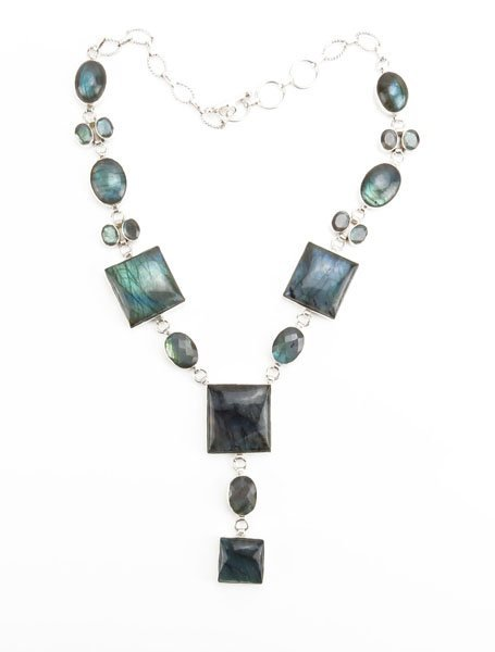 Sterling Silver and Labradorite Necklace. Stamped.