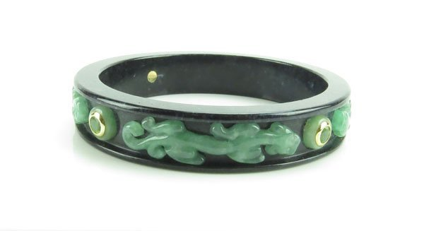 Chinese Hardstone Applied Jade and 14k Bangle Bracelet.
