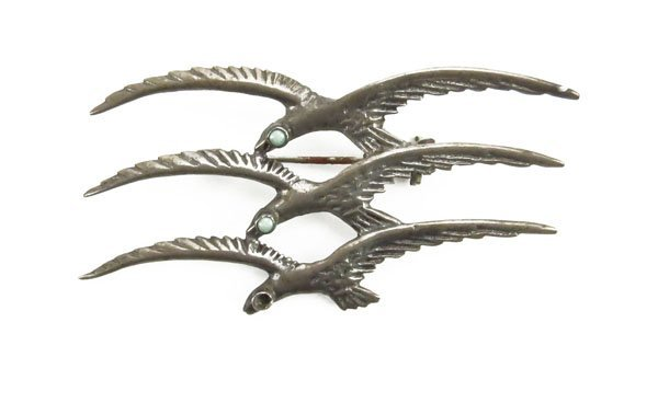 Mexican Sterling Silver and Turquoise Bird . Missing 1