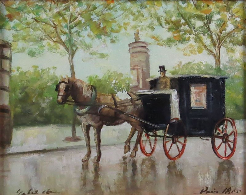 Signed Tourist Oil on Canvas of a Horse Drawn Carriage.