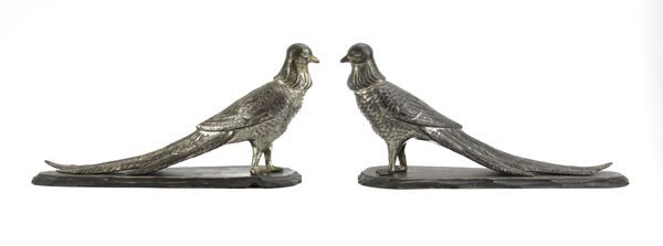 Pair of Silverplated Pheasants on Wooden Base. Wear to