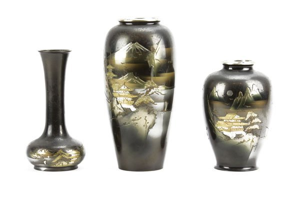 Three (3) Japanese Mixed Metal Vases. Some Wear to