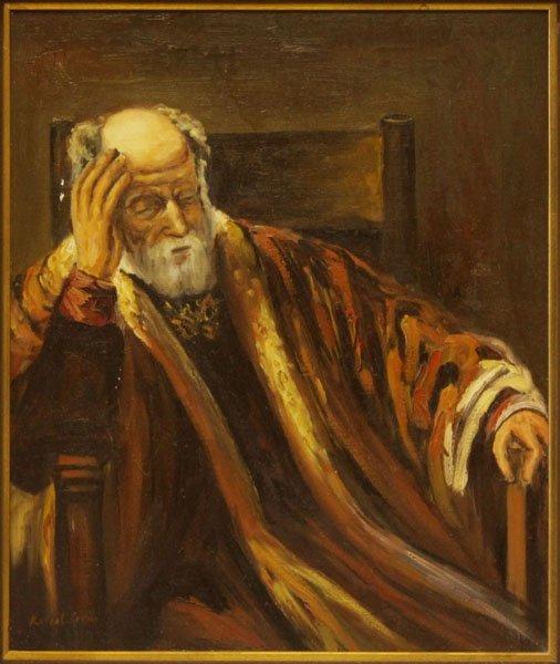 Signed Rafael Serno Oil on Canvas Seated Rabbi