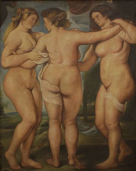 19/20th Century Oil on Canvas of Classical Nudes