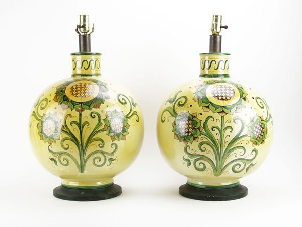 Large Pair of Mid 20th Century Majolica Lamps With