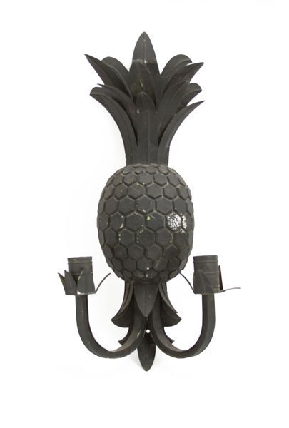 Mid 20th Century Painted Tole Pineapple Two Light