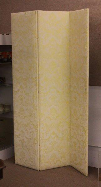 Large Fortuny Mazzarino Fabric Three Panel Screen.
