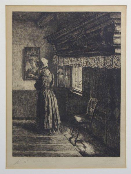 """Siegfried Laboschin (b.1868) Antique Engraving """"Vor Dem"""