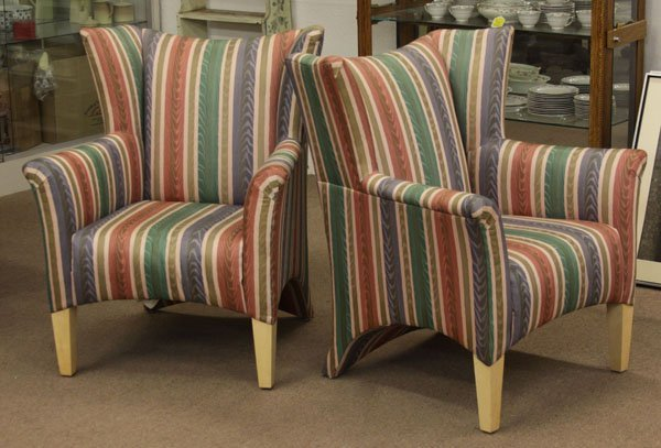 Pair of Upholstered Wingback Occasional Arm Chairs.