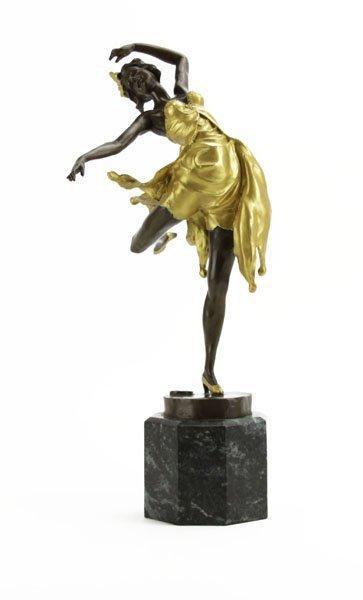 Signed B. Zach Bronze Sculpture of a Dancer on Marble