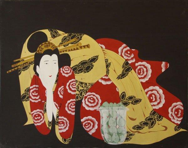 Mid 20th Century Japanese Style Oil on Canvas