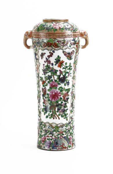 Chinese Rose Mandarin Porcelain Vase with Applied