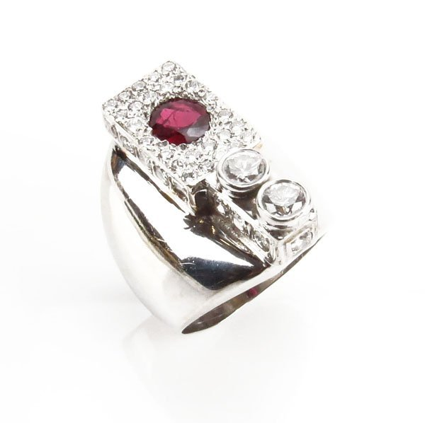 Men's Vintage Round Cut Ruby, Round Cut Diamond and