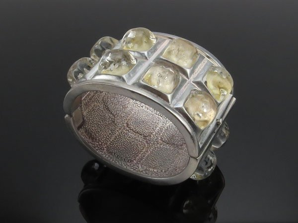 Karl Lagerfeld Silver Tone and Crystal Cuff Bracelet. G