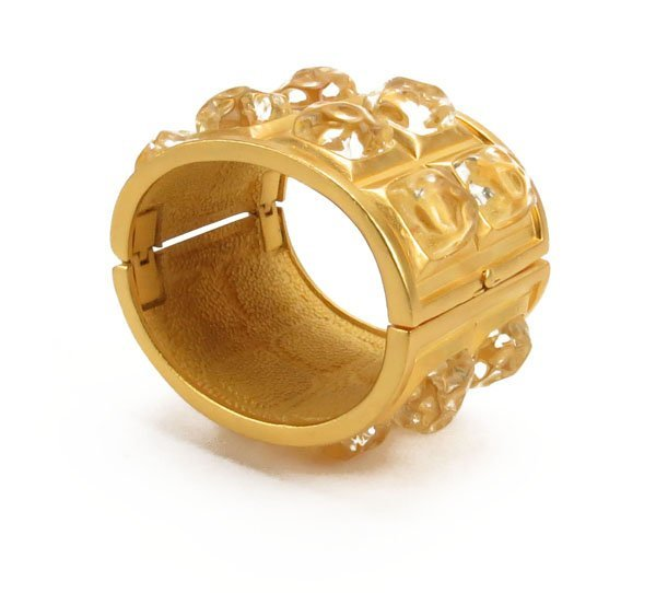 Karl Lagerfeld Gold Tone and Crystal Cuff Bracelet. Ori