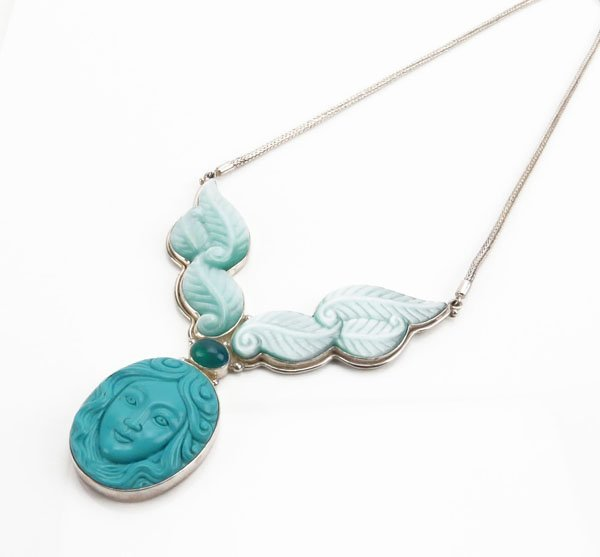 Sterling Hand Carved Turquoise Goddess Face and Gemston