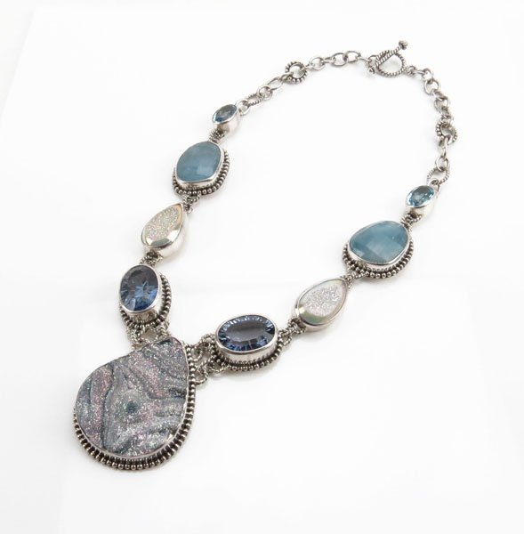 Sterling Silver Druzy and Gemstone Necklace. Stamped 92