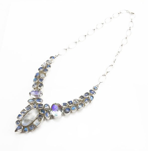 Silver Tone Necklace with Gemstones. Stamped 925. Good