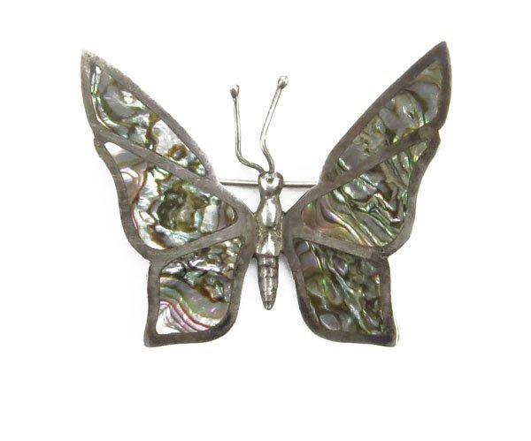 Vintage Mexican Sterling Silver and Abalone Butterfly.