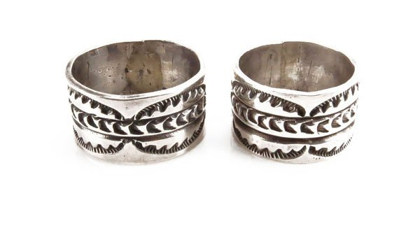 Two (2) Men's Sterling Silver Southwestern Navajo Ring.