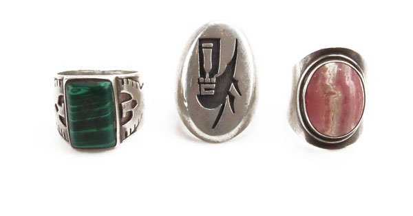 Two (2) Southwestern Sterling Gemstone Ring along with