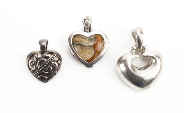 Three (3) Sterling Silver Heart Shaped Pendants. 1 Pend