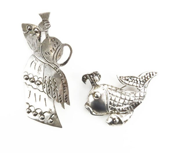 Sterling Silver Angel Pin along with Sterling Fish Shap