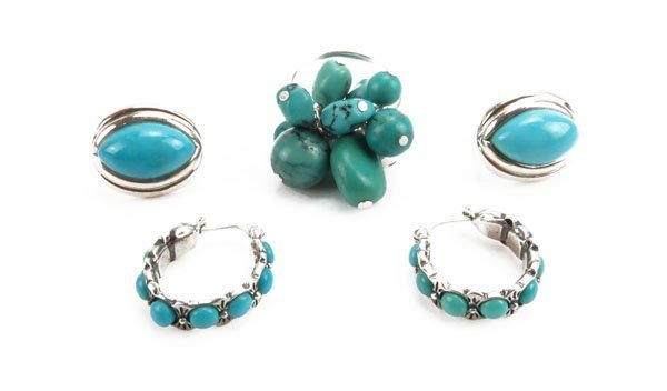 Collection of Sterling Silver Turquoise Ring and Earrin