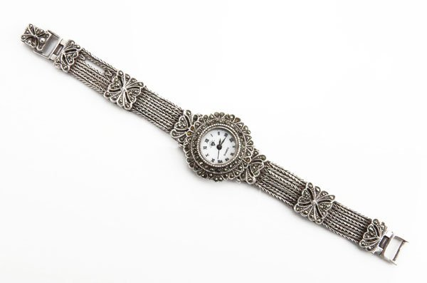 Ladies Sterling Silver and Marcasite Watch. Needs Batte